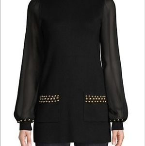 INC gold studded woven tunic